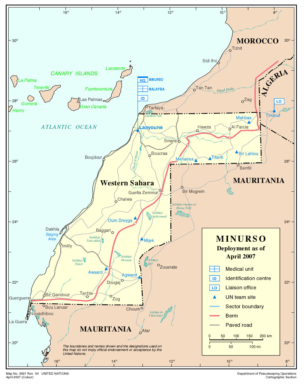 mapa del sahara occidental (minurso 2007)
